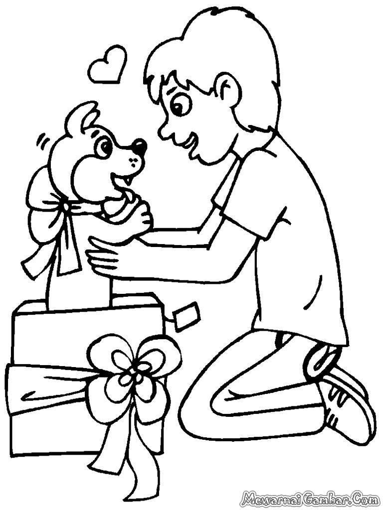 Gambar Hadiah Natal Untuk Diwarnai | Mewarnai Gambar