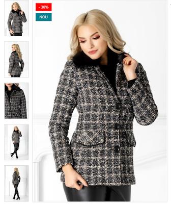 Palton dama scurt negru cu blanita la guler in carouri