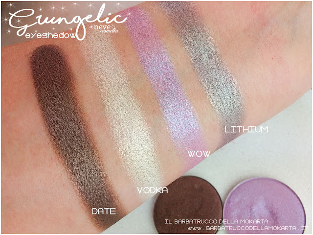 swatches  eyeshadow ombretti packaging Neve cosmetics  recensione, pareri, makeup, consigli, comparazioni