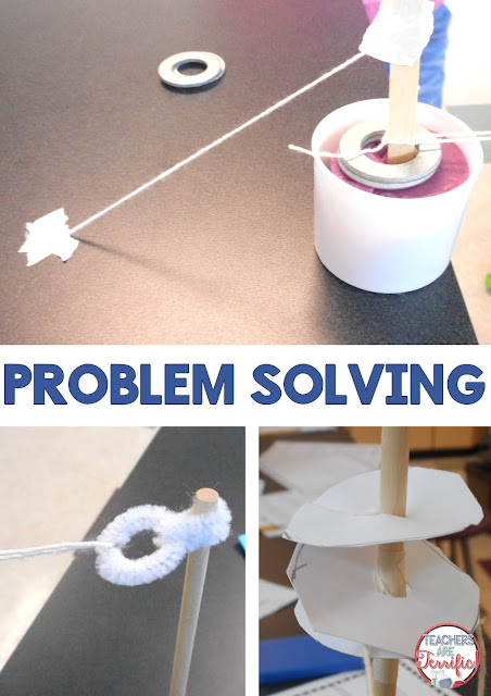 "STEM Challenge: This challenge presented so many dilemmas! One of the biggest problems to solve had to do with connecting the ""rope"" for the pulley system. Kids learned very quickly that the rope had to be securely attached to the support on each side. Check this post for ore!"