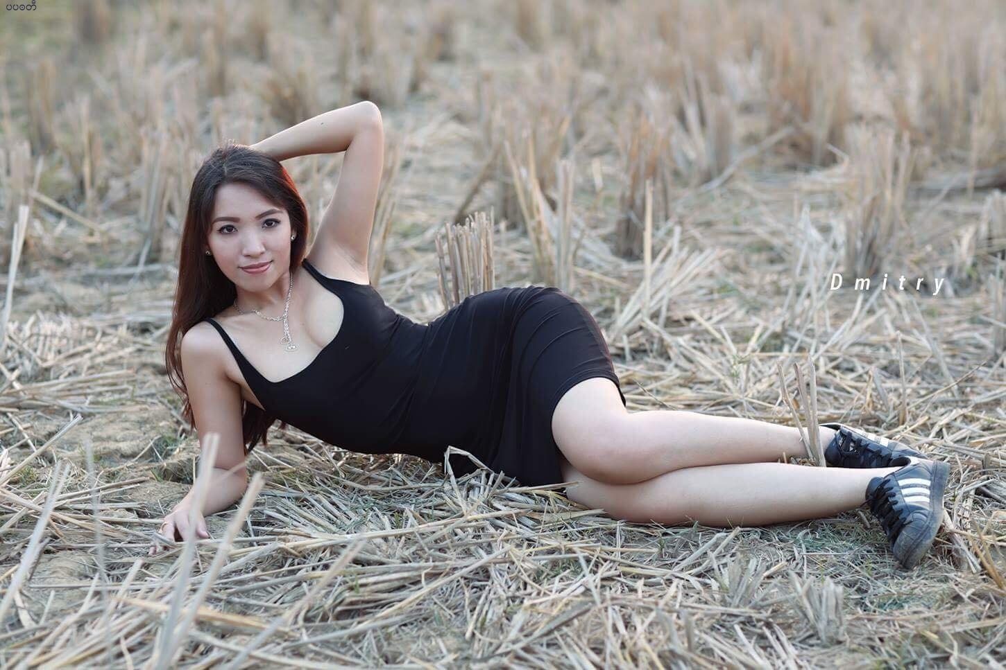 Nan Mwe San Outdoor Photoshoot In Black Outfit Fashion Style