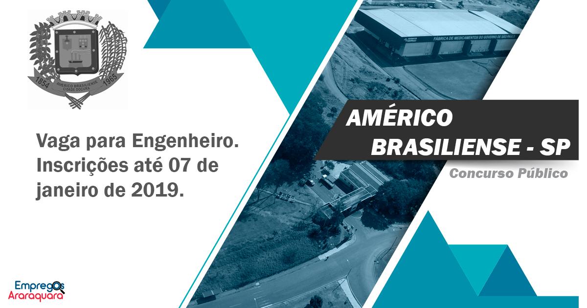 Concurso Prefeitura de Américo Brasiliense - SP: Vaga para Engenheiro