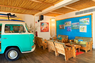 VW bus at the M Bar, Hotel Martinhal, Portugal
