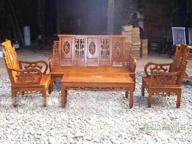 kursi tamu set ukiran hongkong bambu mawar
