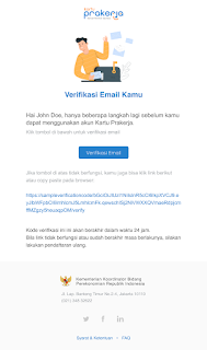 Verifikasi email kartu prakerja