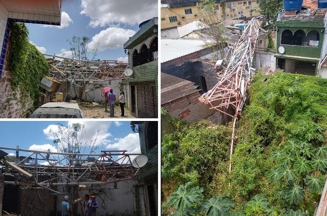 Antena OI cai e causa prejuízo a dono de lava-jato em Limoeiro