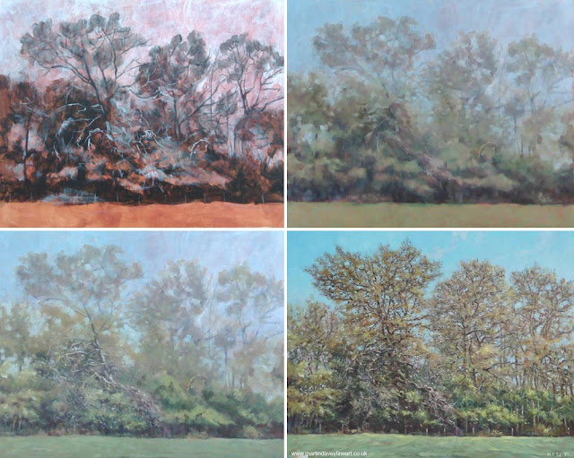 stages of painting line of trees in fall Martin davey