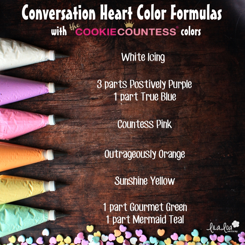 The Cookie Countess food coloring color formulas for making icing in the same colors as conversation heart candies