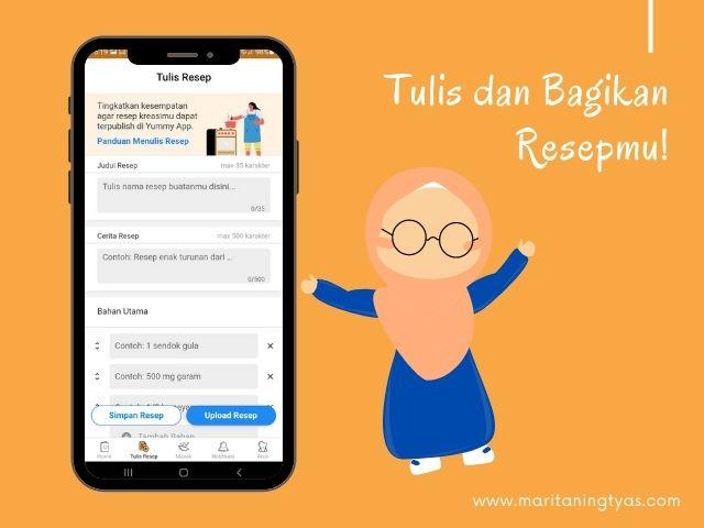 menulis resep di aplikasi Yummy