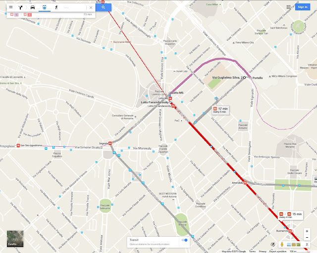 map of Milan Fiera west area between Lotto and Fieramilanocity, showing San Siro Stadium, with Metro M1 & M5 lines and Tram 16 line