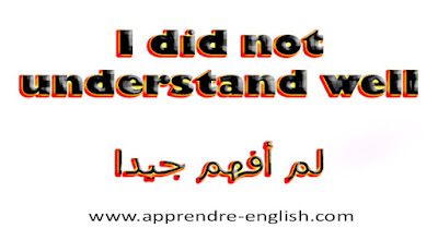 I did not understand well    لم أفهم جيدا