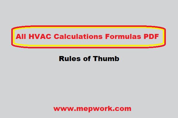 All HVAC Calculations Formulas PDF - Rules of Thumb