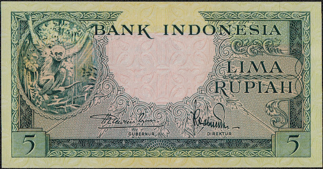 Indonesia Currency 5 Rupiah banknote 1957 Gibbon