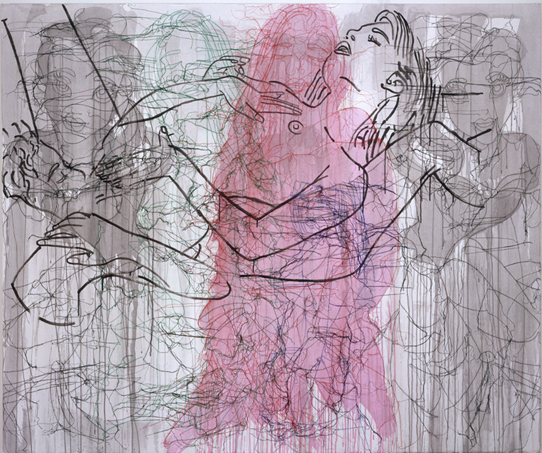 Ghada Amer  And the Beast, 2004  Acrylic, embroidery, and gel medium on canvas
