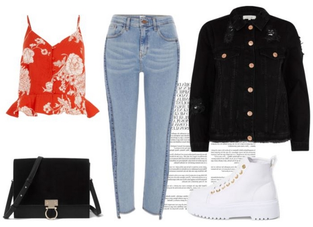 Want to wear lente outfit inspiratie rode bloemen top tweekleurige jeans zwarte spijkerjas en witte veterlaarzen