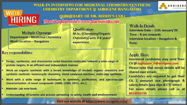 Aurigene hiring for Medicinal Chemistry / Synthetic Chemistry on 11th Jan' 2020 @ Pune & Bangalore