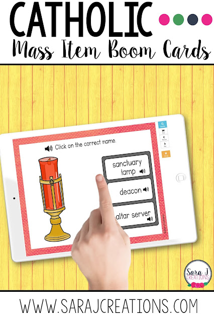 Catholic Mass Item Boom Cards make learning the names of the items we use in Mass fun and digital. Students get instant feedback and can play on any device.