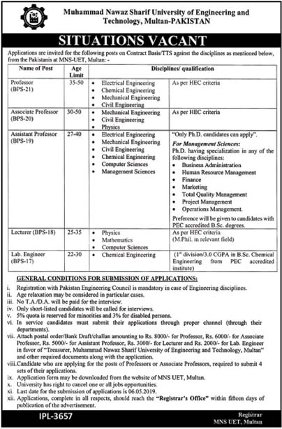 Jobs In Muhammad Nawaz Sharif University of Engineering And Technology