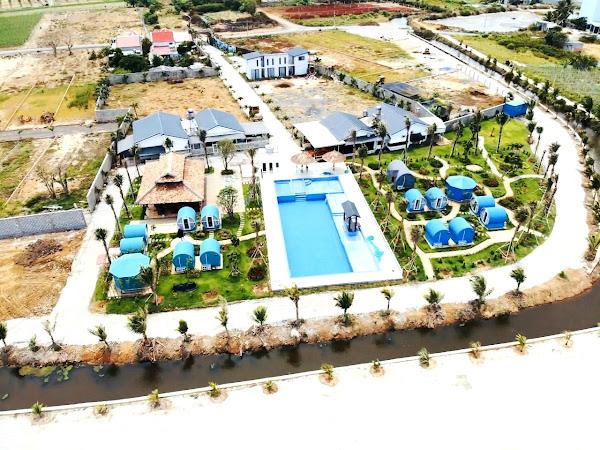 ảnh thực tế khu nghỉ dưỡng happy garden hồ tràm nhìn từ trên cao