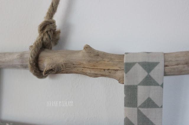 Der Rabe im Schlamm, Tasche, Wandutensilo, nähen, DIY, Treibholz, Driftwood, Sewing