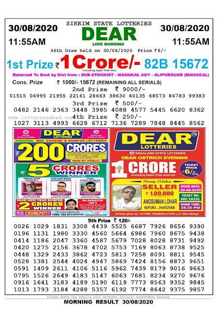 Lottery Sambad Today 30.08.2020 Dear Love Morning 11:55 am