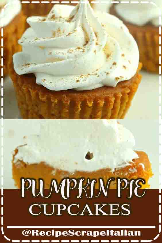 For Thanksgiving this year, rather than creating a pie, why not create pie cupcakes?? No forks needed, simply grab and eat! These bite-sized desserts area unit created with all of your usual pie ingredients: pumpkin puree, concentrate, sugar, pie spice, etc. For the icing, we're merely employing a huge small indefinite quantity of topping. What pie would be any smart while not it?#Thanksgiving #recipes #dessert #cupcakes