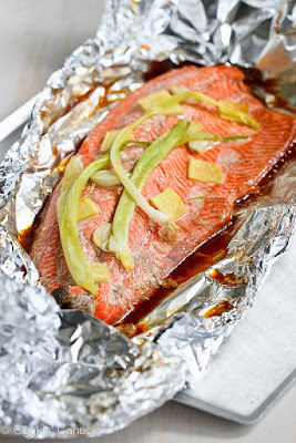 Easy Grilled Salmon in Foil with Ginger and Soy Sauce from Cookin' Canuck, featured for Low-Carb Recipe Love on Fridays (5-27-17) on KalynsKitchen.com