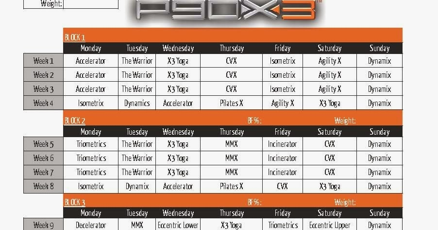 workout: P90x3 lean schedule