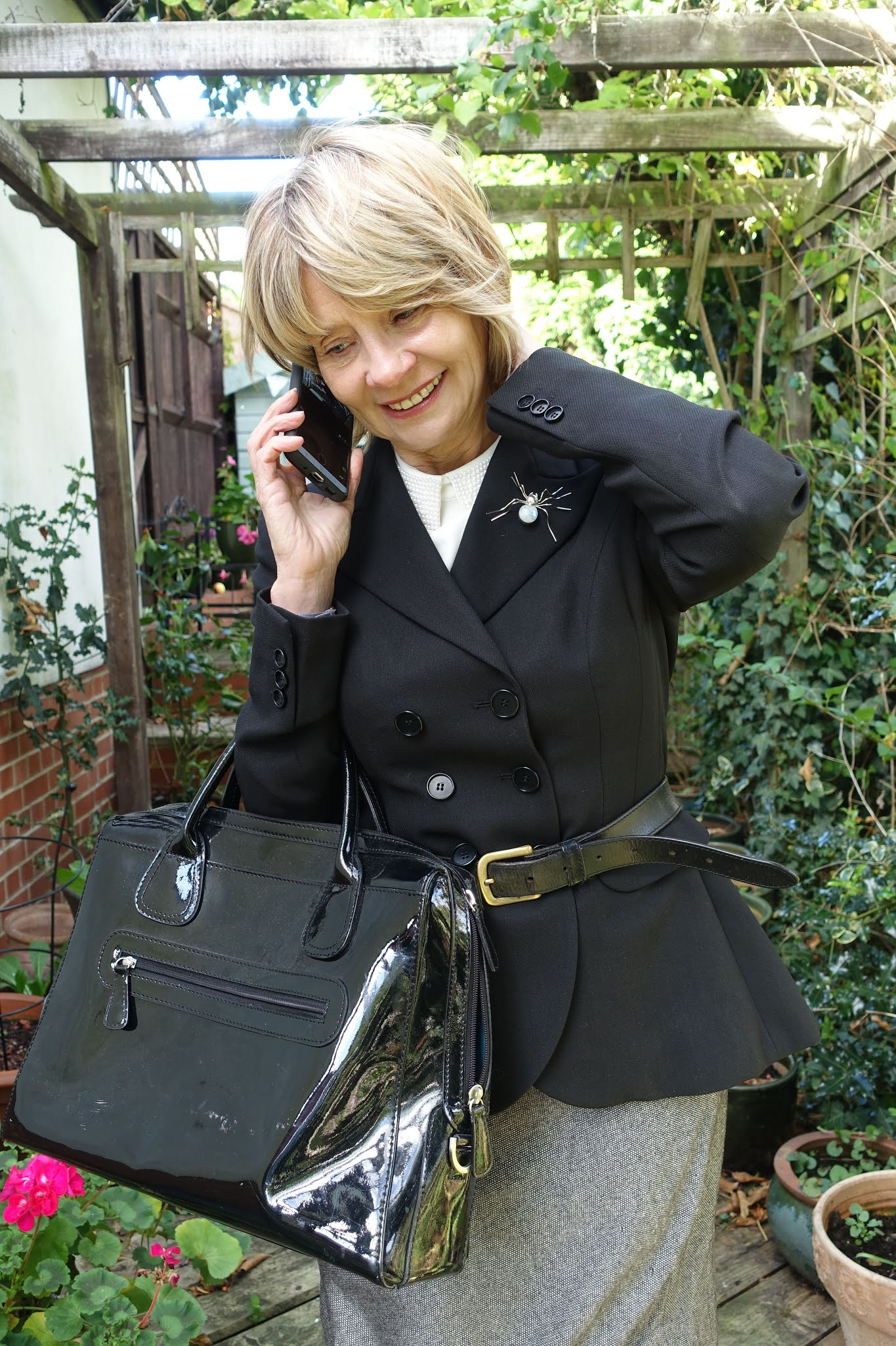 Over 50s fashion blogger Gail Hanlon from Is This Mutton in crisp tailoring to impress at work - if she was able to go to the office!