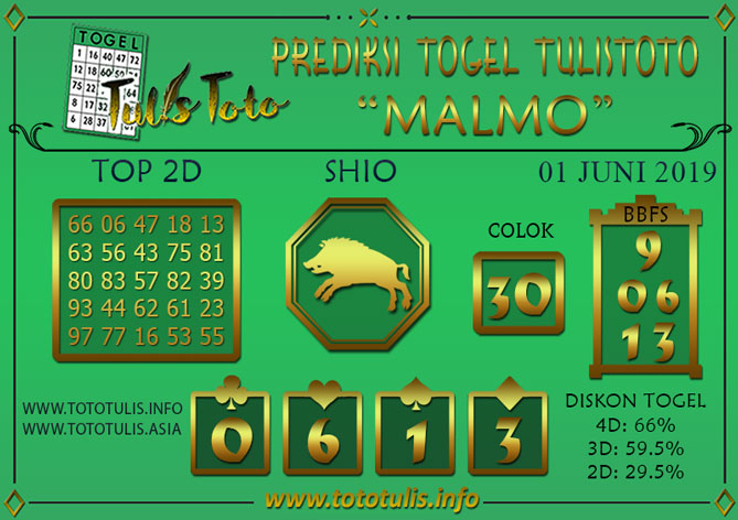 Prediksi Togel MALMO TULISTOTO 01 JUNI 2019