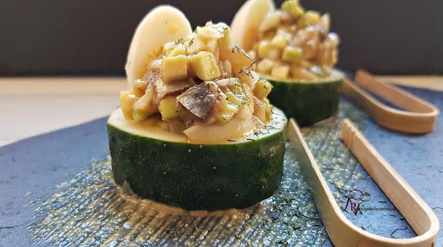 Tartar de salazones sobre pepino