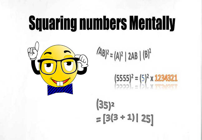 Squaring - How to find the Square of numbers mentally without