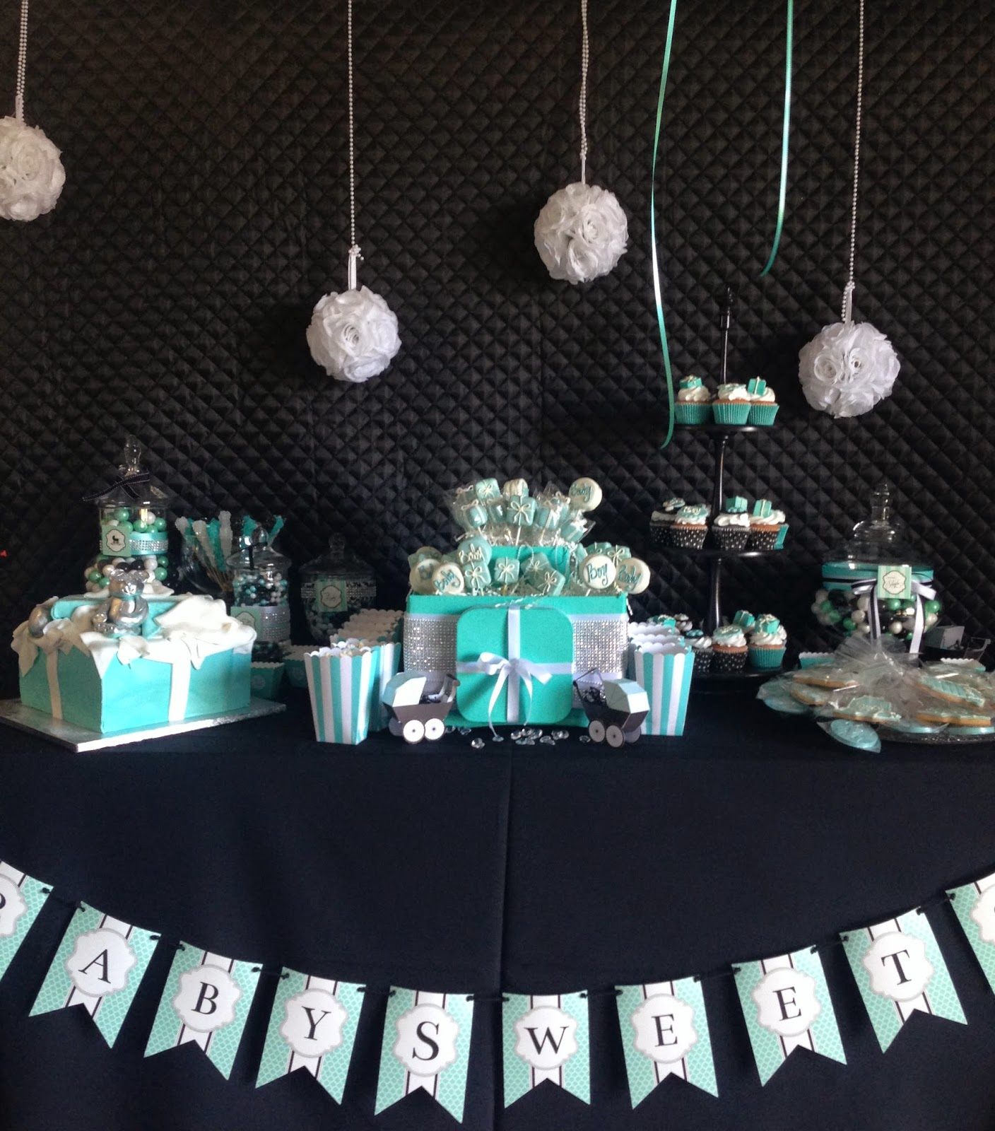 candy station, pomander balls, apothecary jars, allthingsslim, baby shower, party inspiration