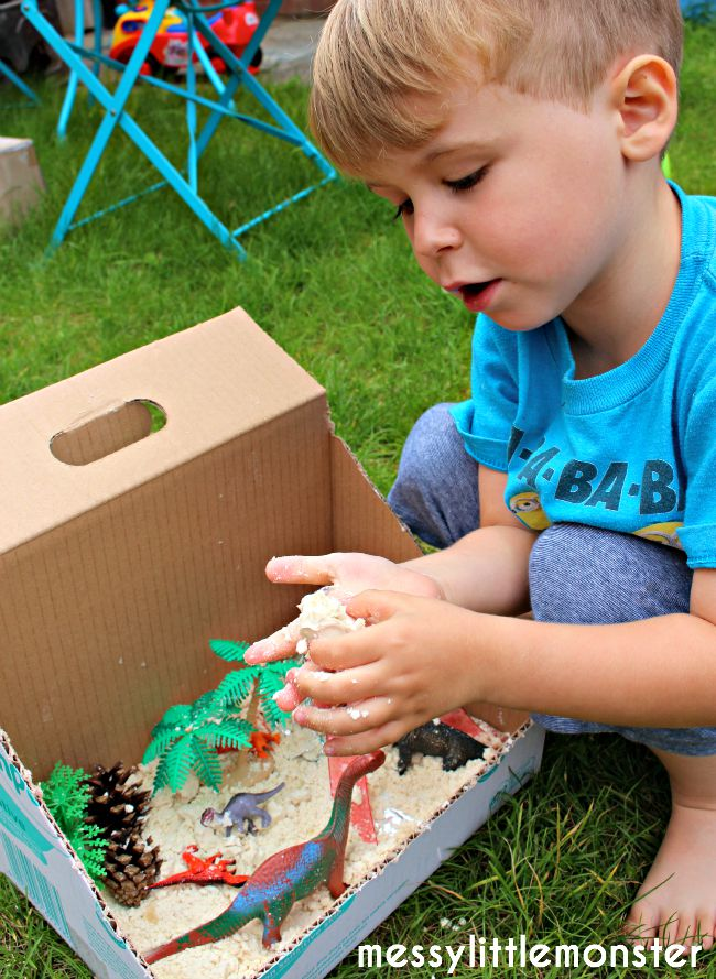 Dinosaurs and cloud dough activity ideas for kids.