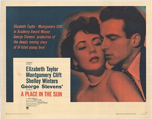 Montgomery Clift and Elizabeth Taylor in original colour poster for A Place in the Sun