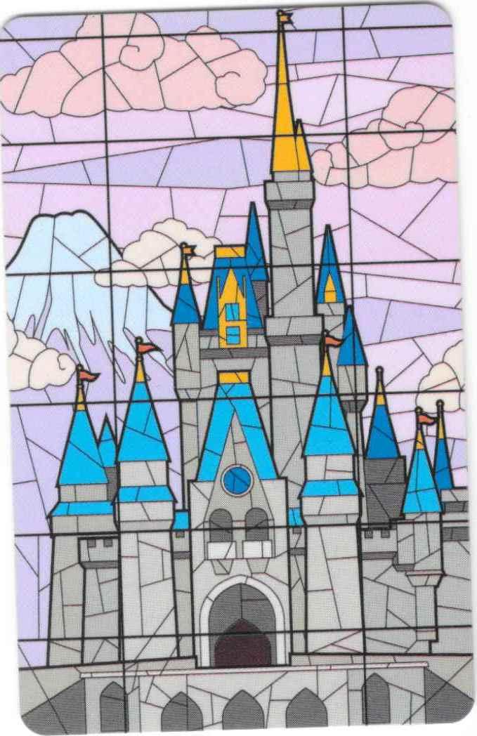 Purple Cinderella Castle Stained Glass Ticket Walt Disney World