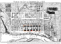 "'Plan of the City of Savannah, Ga. in 1818, from 'The Fire-Brand of Discord"": The North, the South, and the Savannah Fire of 1820' by Matthew Mason, The Georgia Historical Quarterly, Vol. 92, No. 4 (2008), pg. 445.  Boundary depiction attributed to Charles Snyder, Georgia Historical Society, based on map from Historical Records of City of Savannah, by Frederick David Lee, and J. L. Agnew (1869), pg. 75."