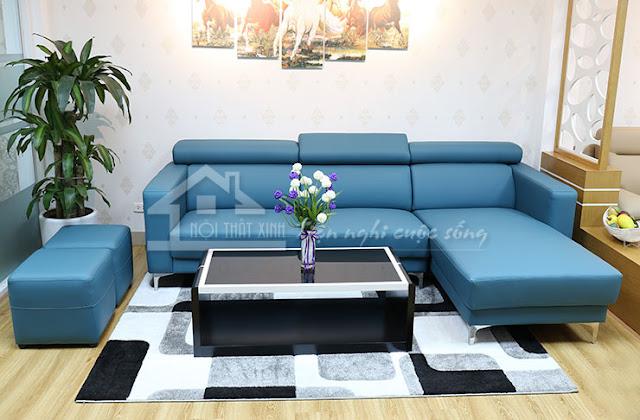 Ghế sofa đẹp màu xanh cô ban nhẹ nhàng