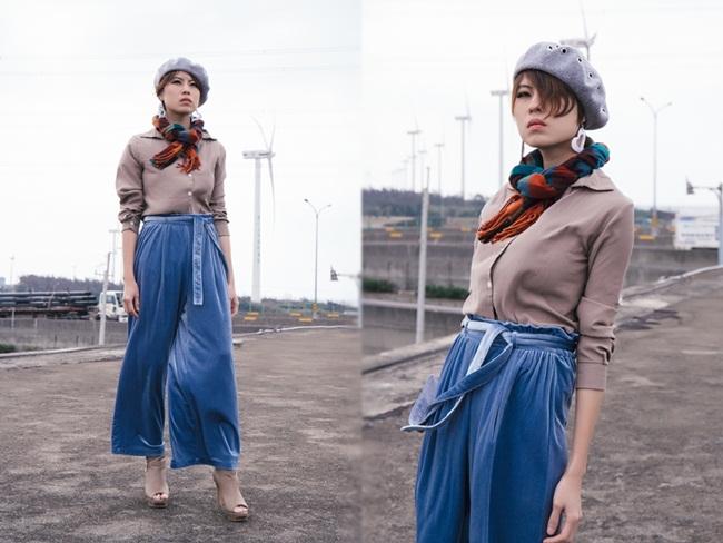 GU 2017早春女裝絲絨寬褲