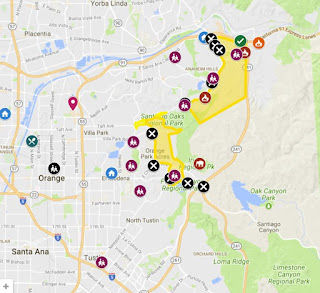 map of Anaheim Canyon Evacuation Areas