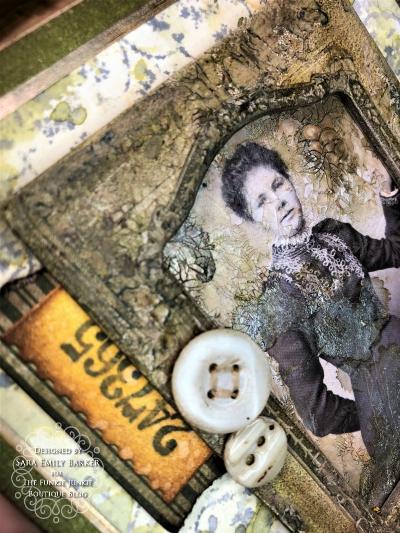 Sara Emily Barker https://sarascloset1.blogspot.com Vintage Mixed Media Card Tim Holtz Sizzix Crochet Burst 3D Impresslits 4