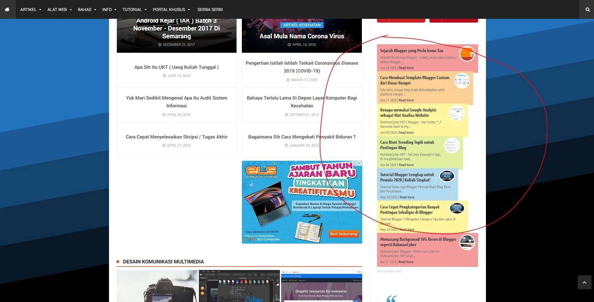 Tampilan widget recent post by label bertingkat