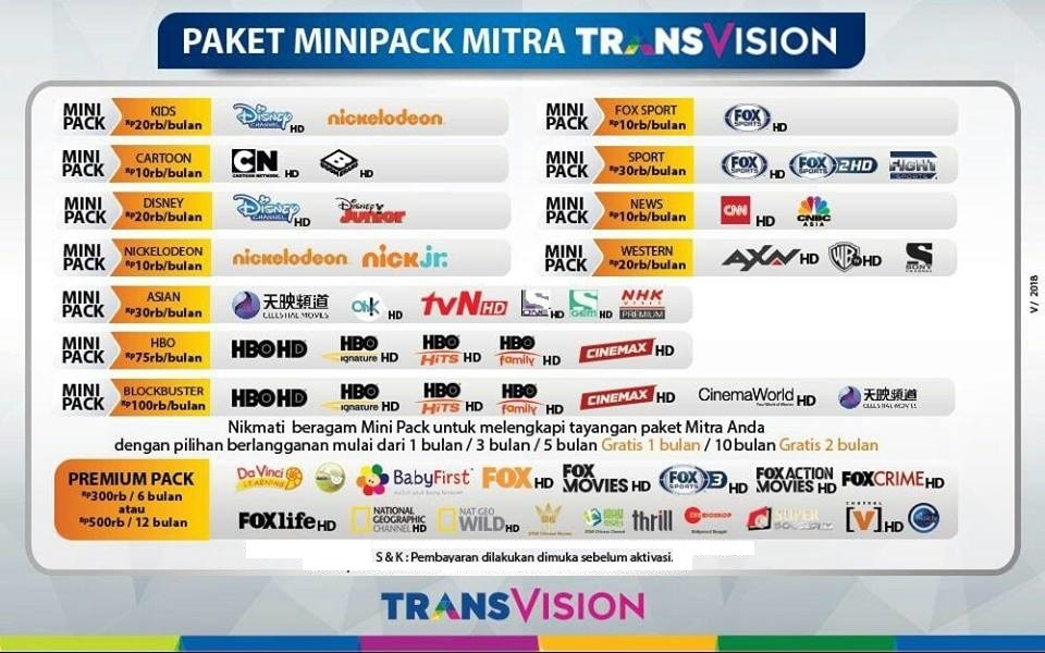 harga paket minipack mitra transvision