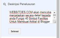 12. Deskripsi Penelusuran - 40 Post Editor Blogger