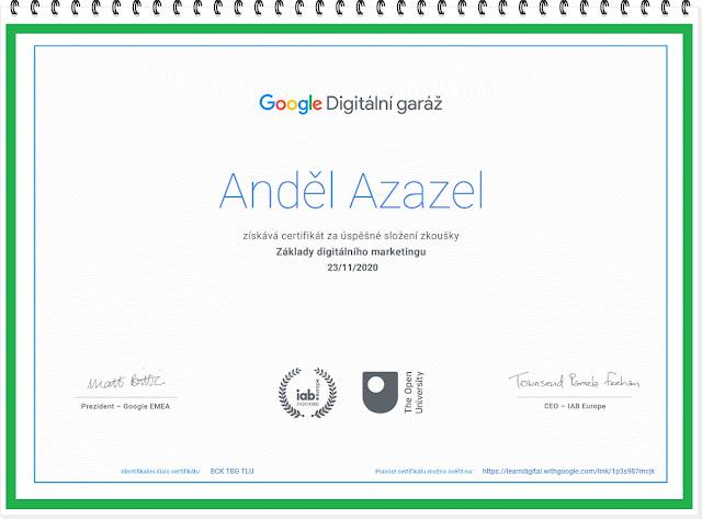 Certifikát za úspěšné složení zkoušky Základy digitálního marketingu