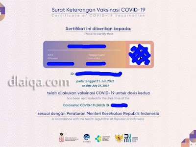 sertifikat vaksin kedua