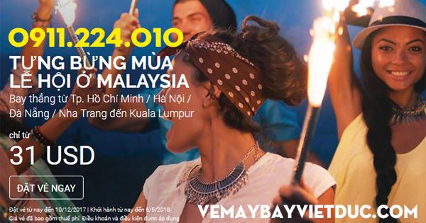 Air Asia khuyến mãi vé 31 usd vui lễ hội tại Malaysia