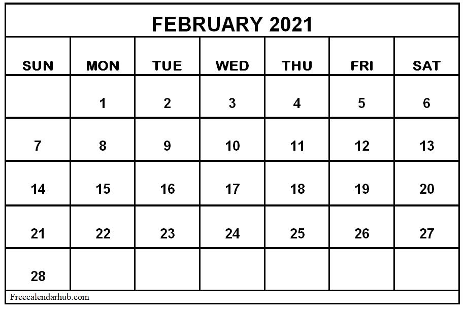 Editable 2021 February Calendar Printable