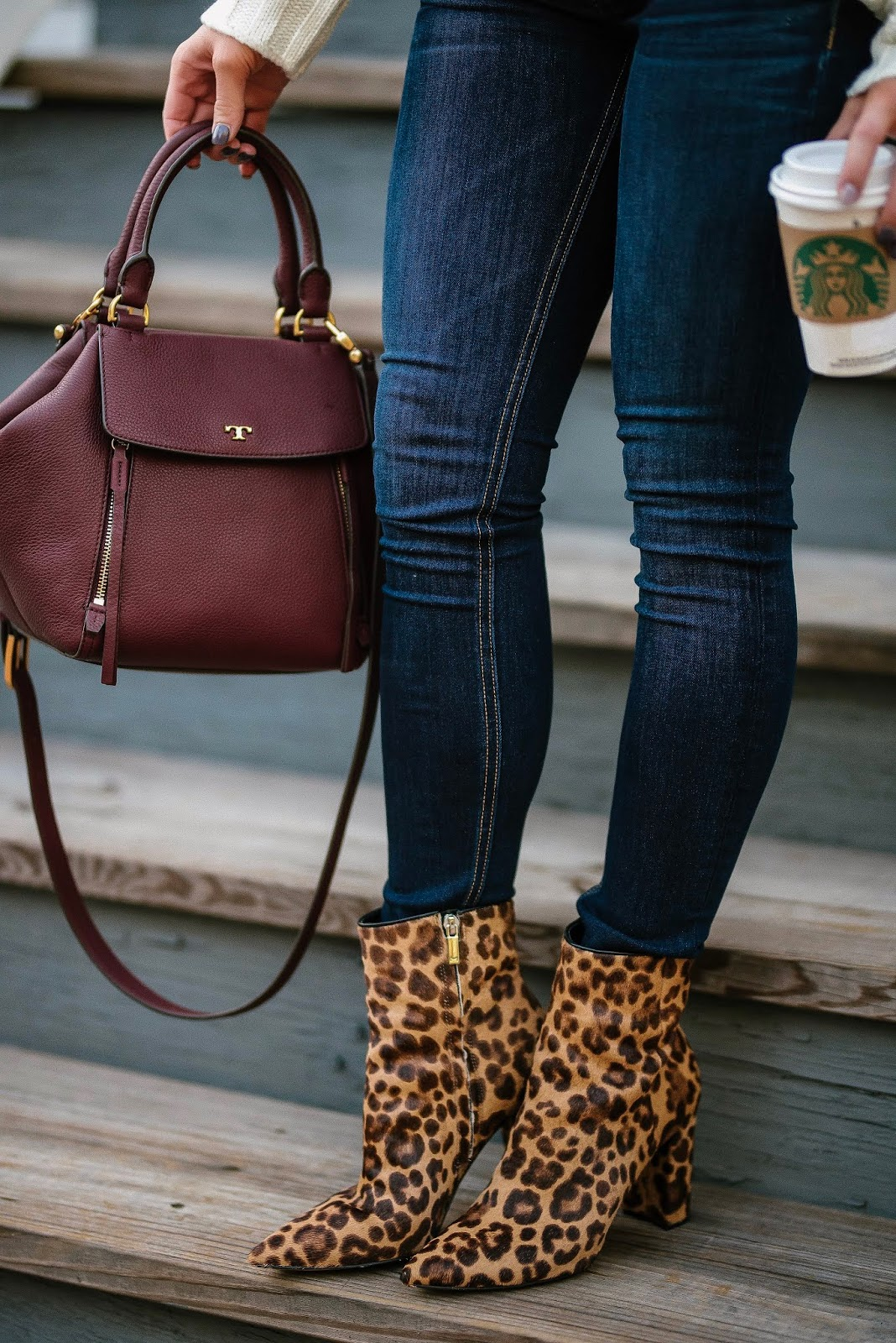 Fall Style: Tory Burch Half Moon Satchel and Leopard Booties - Something Delightful Blog