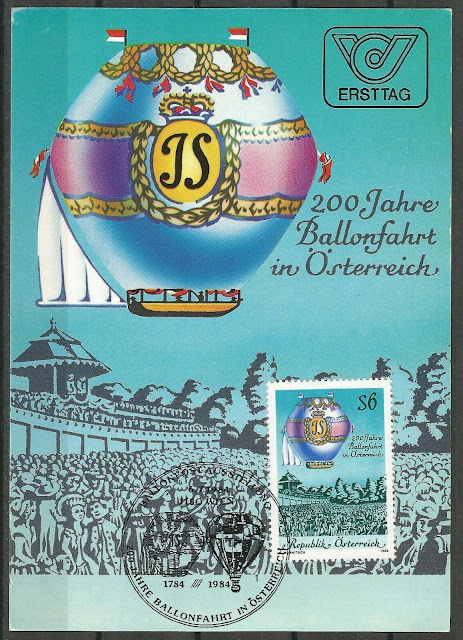 Austria 1984 Maximum Card - First Manned Balloon Flight